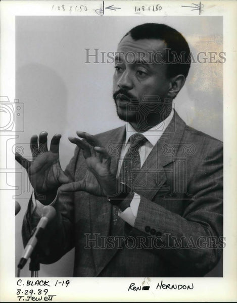1989 Press Photo Ronnie Henderson renew call to fight drugs and gangs - ora38423 - Historic Images
