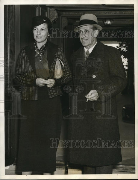 1936 Press Photo San Francisco, Calif Santiago De Vigo with wife, former Spanish - Historic Images