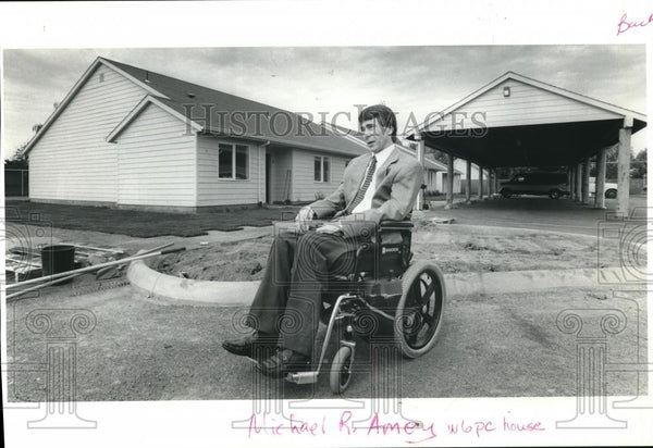 1994 Press Photo Handicapped Michael R. Amey outside his house. - ora00133 - Historic Images