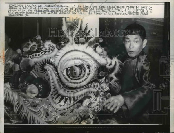 1957 Press Photo San Francisco Gee Sheu Wai in tradition governed rites - Historic Images