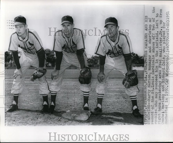 1951 Press Photo Cardinals Shortstop and Manager Marty Marion With Two Rookies - Historic Images