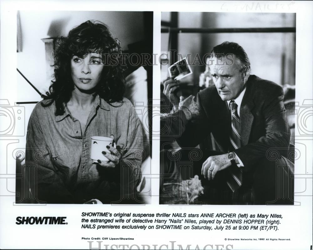 1992 Press Photo Anne Archer and Dennis Hopper star in Nails ...