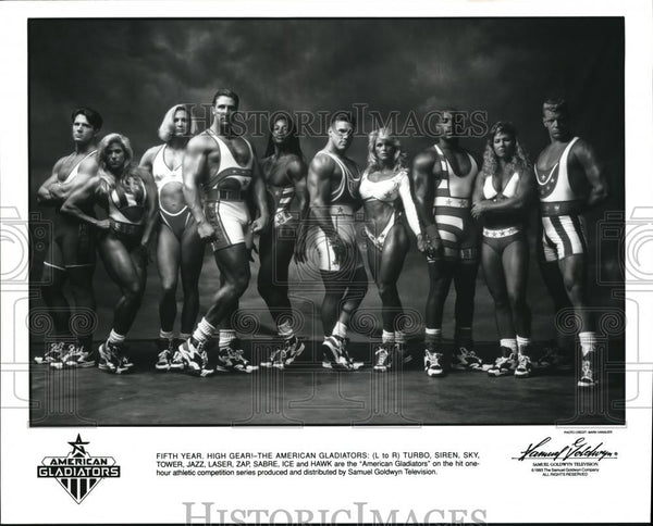Press Photo The American Gladiators Turbo Siren Sky Tower Jazz Laser Zap - Historic Images