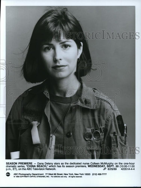 1989 Press Photo Dana Delaney stars as Colleen McMurphy on China Beach TV show - Historic Images
