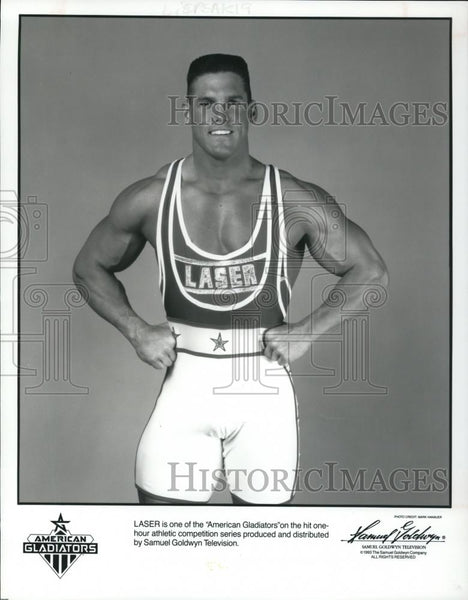 1993 Press Photo Laser on American Gladiators TV show - cvp54755 - Historic Images