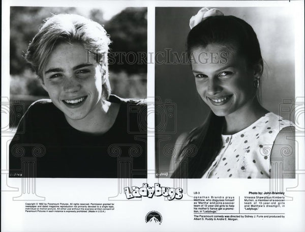 "1993 Press Photo Jonathan Brandis and Vinessa Shaw in ""Ladybugs"" - cvp51602 - Historic Images"