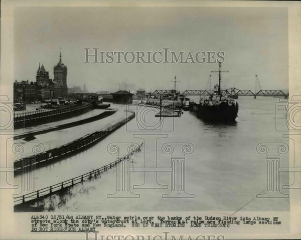1948 Press Photo Flooding in New York State & New England Hudson River Floods - Historic Images