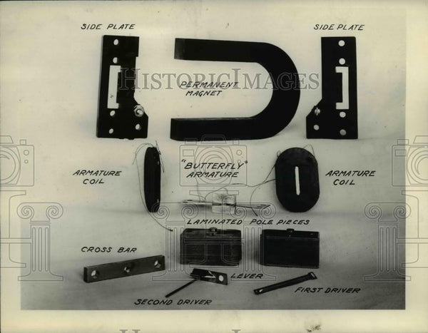 1927 Press Photo The illustration of the parts in the new 20-20 cone speaker - Historic Images