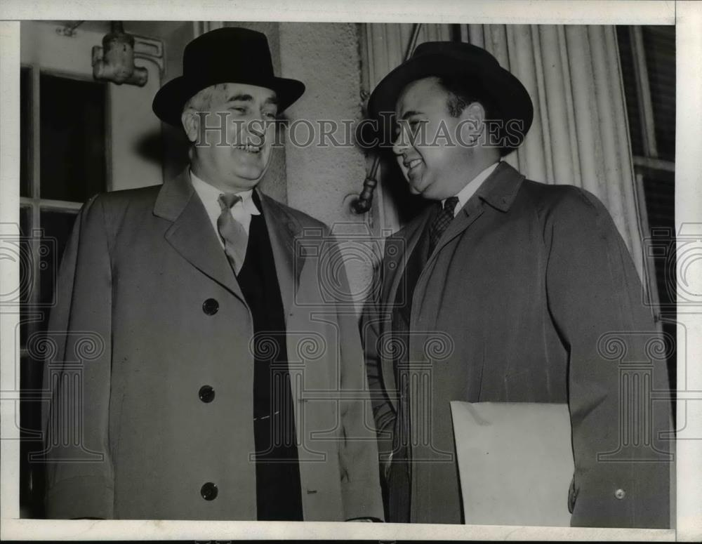 1944 Press Photo New Jersey Governor Charles A. Edison and Thomas Schettino - Historic Images