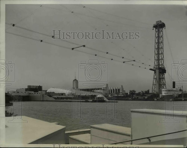 1934 Press Photo building being built over lagoon by Worlds Fair in Chicago Il. - Historic Images