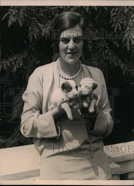 1923 Press Photo Miss Frances Davidson with 2 Bull Puppies at Milk Fund Benefit - Historic Images