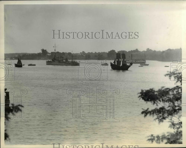 1934 Press Photo Opening the pageant replicas of ships bring colonists to MD. - Historic Images