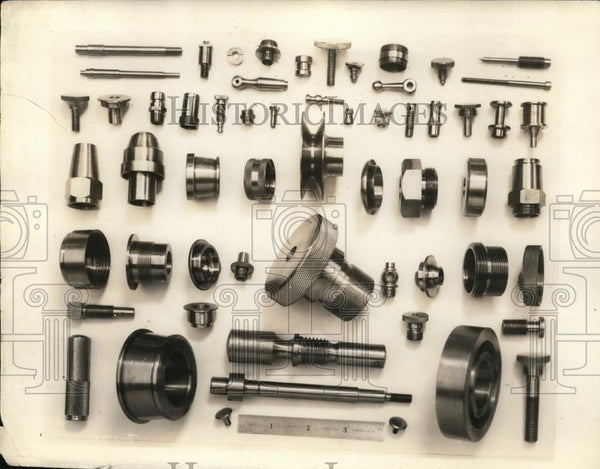 1945 Press Photo Various Nuts & Bolts, Metal Hardware - Historic Images