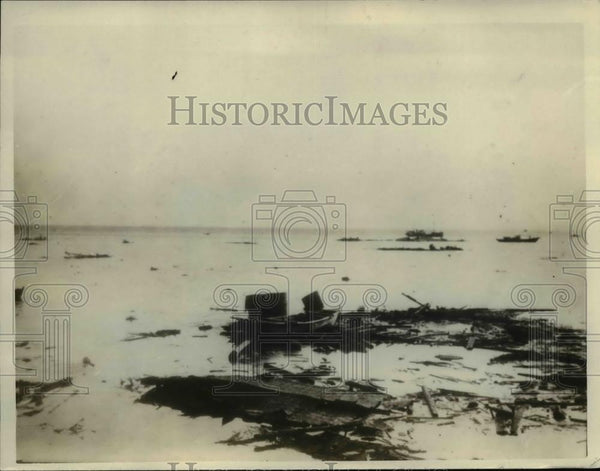 1926 Press Photo Houses Washed Away at Coast of Kitaura-machi, Akita-ken, Japan - Historic Images
