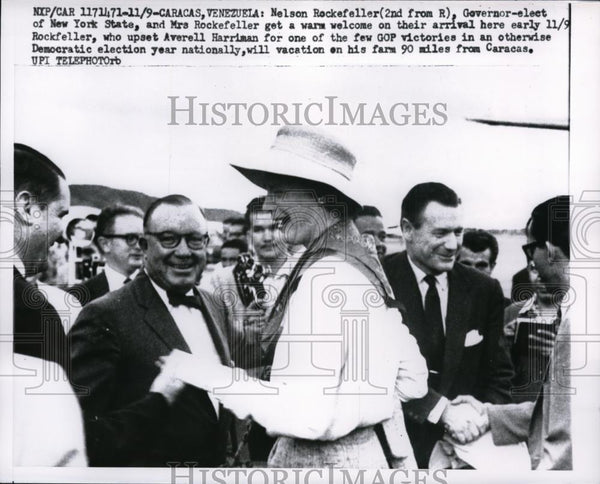 1956 Press Photo NY Governor Elect & Mrs Nelson Rockefeller in Caracas |  Historic Images
