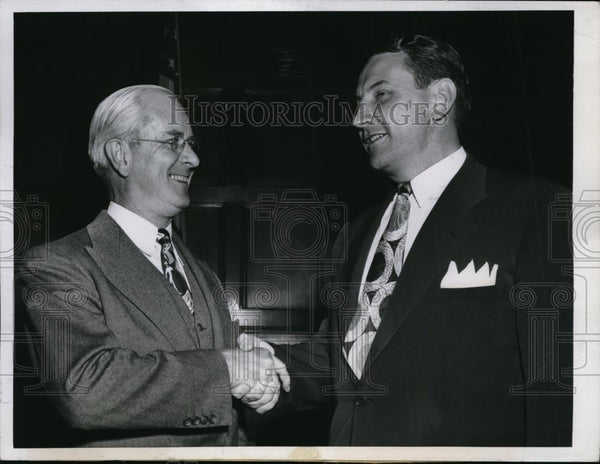 1948 Press Photo Commerce Sec. Charles Sawyer(L) & Delos Rentzel, Aeronautics - Historic Images