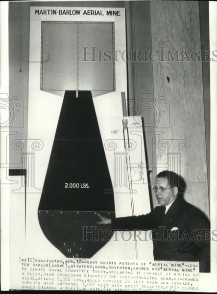 1938 Press Photo Lester Barlow, invented the aerial mine - Historic Images