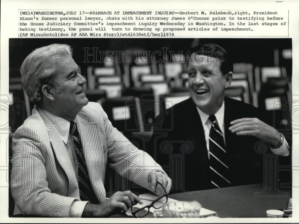 1974 Press Photo Kalmbach at Impeachment Inquiry in Washington - Historic Images