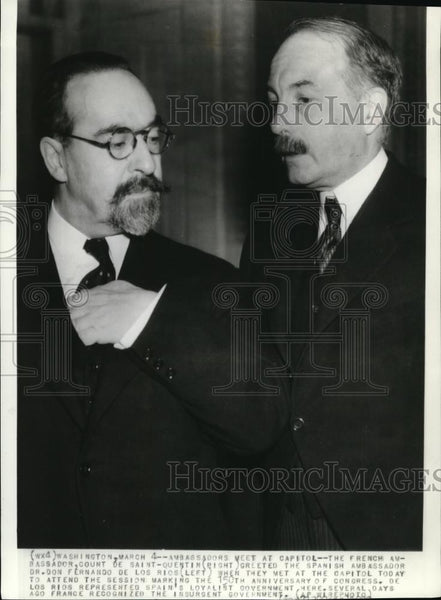 1938 Press Photo Ambassadors, Don Fernando de los Rios & Count De Saint Quentin - Historic Images