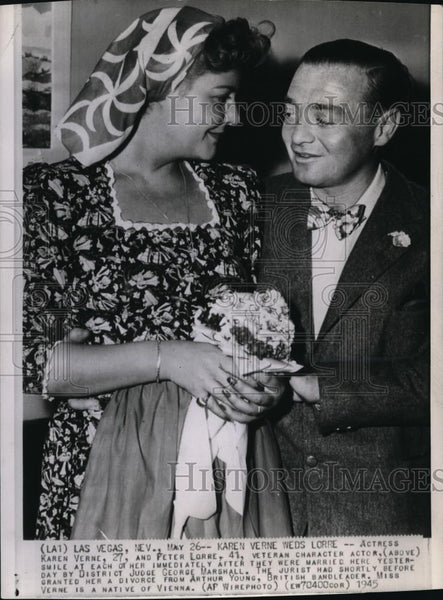 1945 Press Photo Actress Karen Verne weds Actor Peter Lorre - Historic Images
