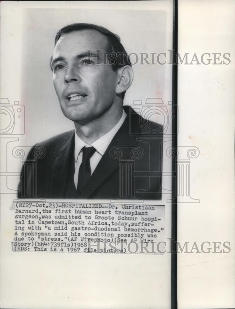 1968 Wire Photo Dr. Christian Bernard, first human heart transplant surgeon  - Historic Images