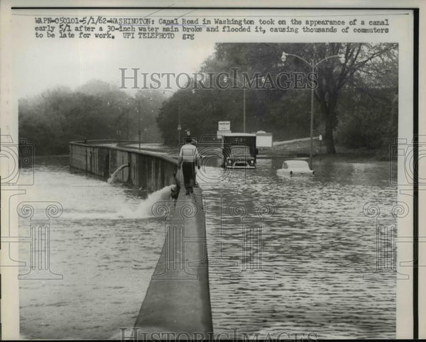 1962 Press Photo Canal Road Flooded, Washington D.C. - Historic Images