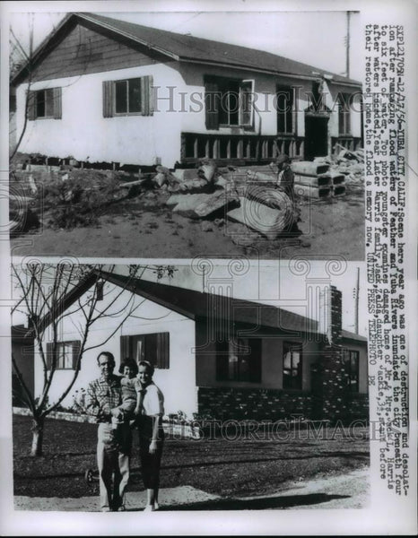 1956 Press Photo Water Floods destroyed Homes at Yuba City California. - Historic Images