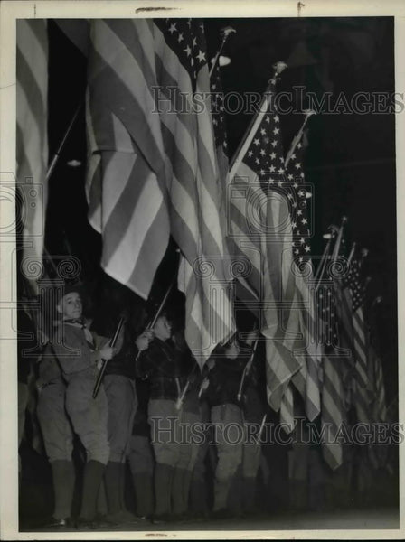1940 Press Photo Boy Scouts at ceremony at an arena in Cleveland Ohio - Historic Images