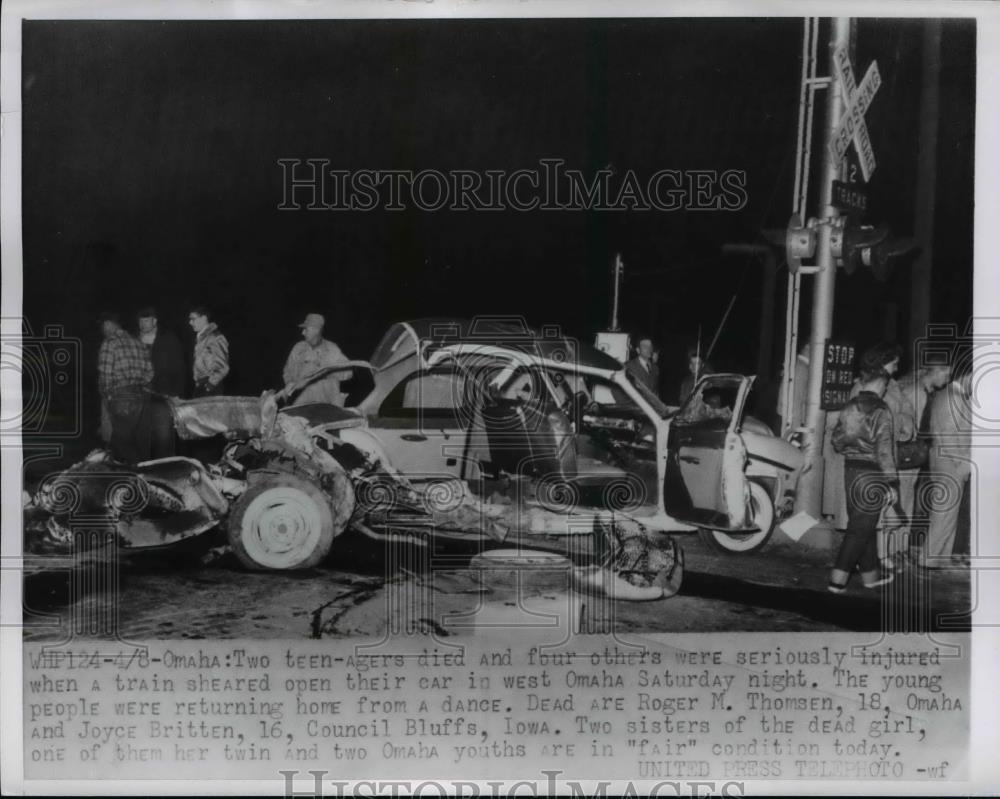 1956 Press Photo R M Thomsen Joyce Britten Killed in Car & Train Accident  Omaha