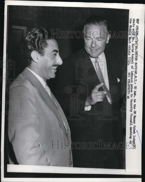 1916 Press Photo US Ambassador Henry Cabot Lodge & Dr Kaim Askoul of Lebanon - Historic Images
