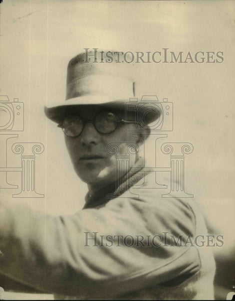 1928 Press Photo George Bennett recovered from serious Car accident Injury - Historic Images