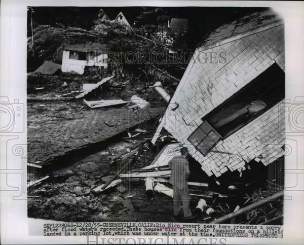 1955 Press Photo \Huerneville California Rio Mido resort wrecked by floods - Historic Images