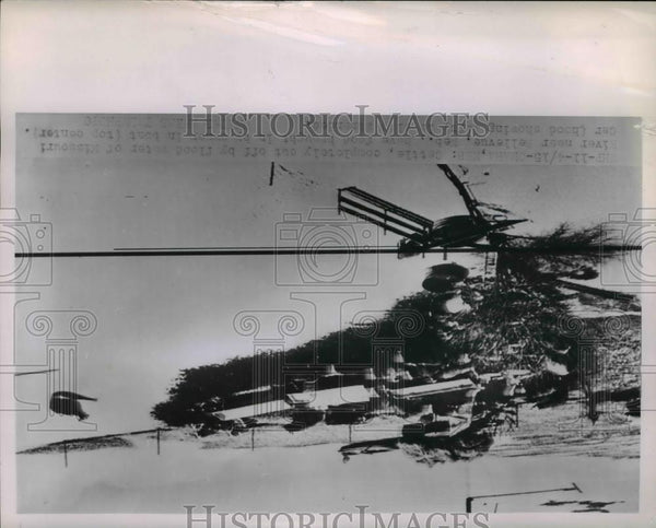 1952 Press Photo Aerial view of stranded cattlecut off by Nebraska floods - Historic Images