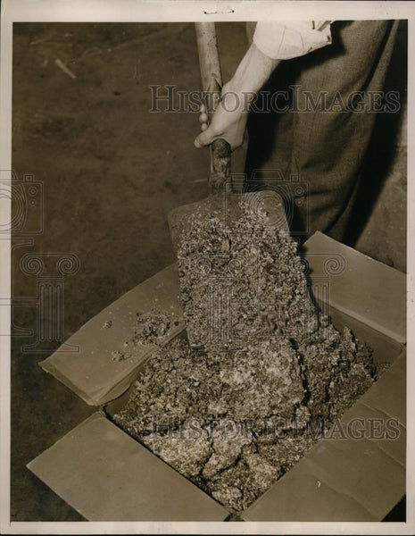 1937 Press Photo Man shovels ashes into a box for disposal after the cool - Historic Images