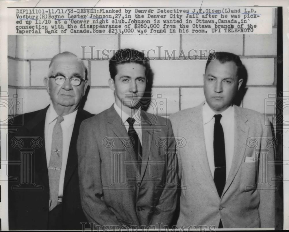 1958 Press Photo Boyne Lester Johnson,flanked by Ottawa, Canada Detectives - Historic Images