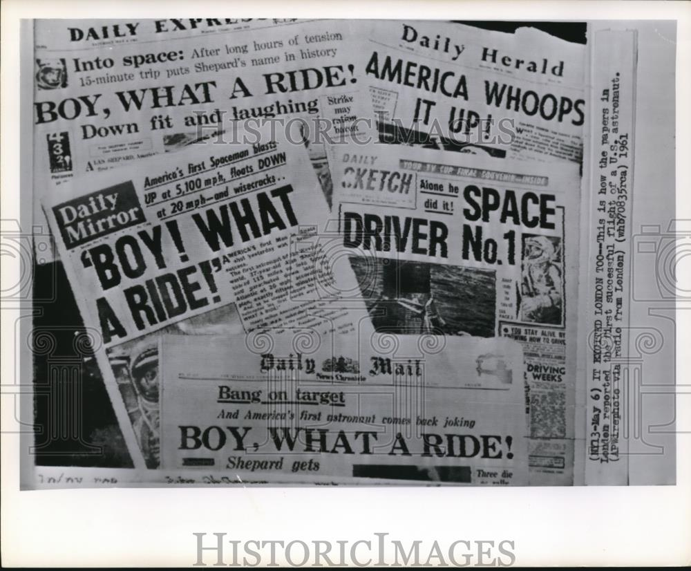 1961 Wire Photo The reports of 1st successful flight on US astronaut ...