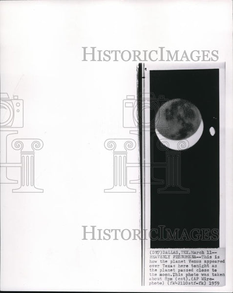 1953 Wire Photo Venus appeared over Texas as planet passed close to moon - Historic Images