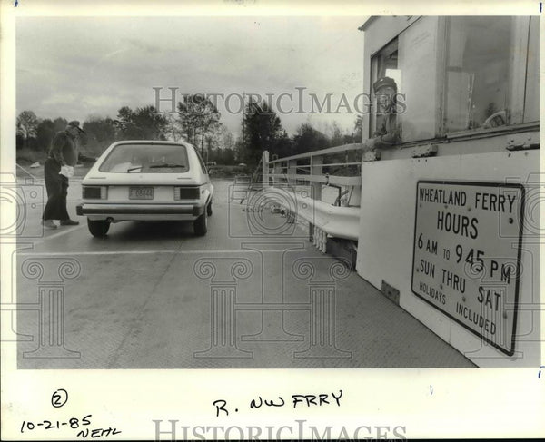 1985 Press Photo Wheatland Ferry, early transportation across river - orb66688 - Historic Images