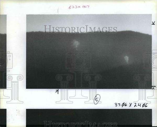 1991 Press Photo Forest fire-Oregon-Desolation Lookout - orb66588 - Historic Images