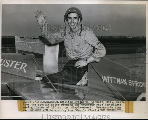 1947 Press Photo William Brennand in Goodyear race boat at Cleveland Ohio - Historic Images