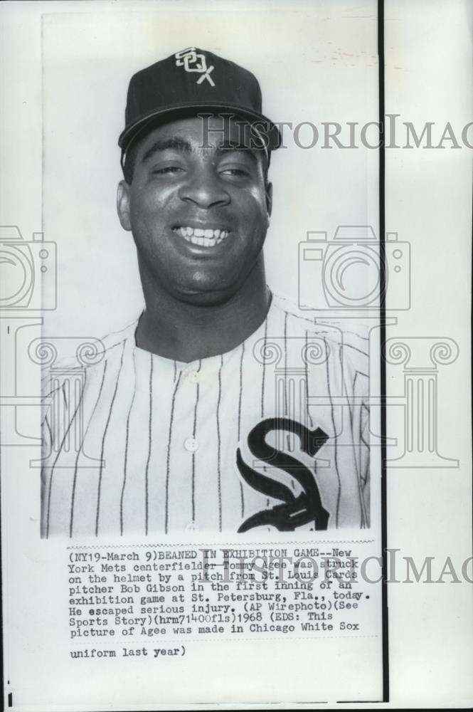 1968 Press Photo Tommy Agee New York Mets Centerfielder - cvs01420 - Historic Images