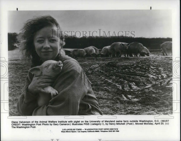 1988 Press Photo Diane Halverson of Animal; Welfare Institute Univ of Maryland - Historic Images