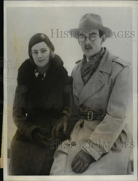 1931 Press Photo Prince Lennart of Sweden with Ms Karin Nissvandt in Stockholm - Historic Images