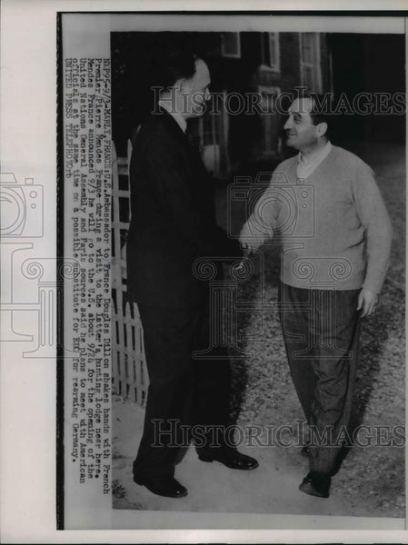 1954 Press Photo Premier Mendes-France and U.S. Amb Douglas Dillion to France - Historic Images