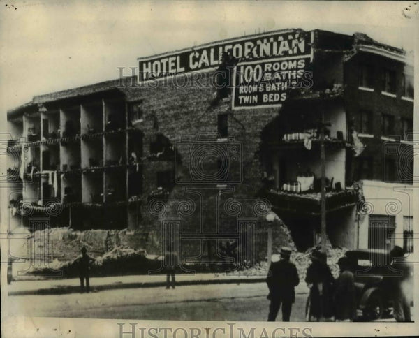 1925 Press Photo The ruins of the California Hotel destroyed by the earthquake - Historic Images