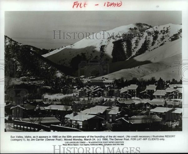 1986 Press Photo Sun Valley Idaho as it appears in `1986 on 50th Anniversary. - Historic Images