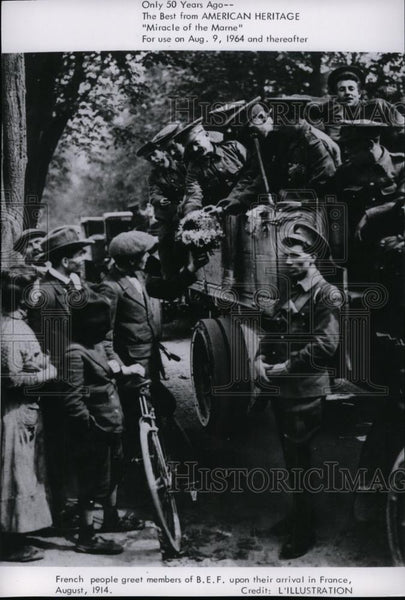 1914 Press Photo French People Greet Member of B.E.F. Arrive France - spp01308 - Historic Images