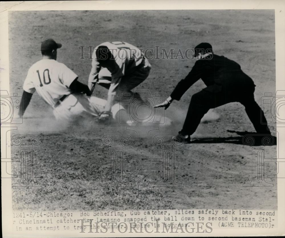 1948 Press Photo Cubs Bob Scheffing safe at 2nd vs Stalin of Reds - net09269 - Historic Images