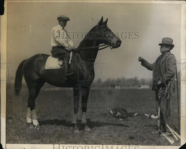 1925 Press Photo Damask steeplechase horse at Belmont Park NY training - Historic Images