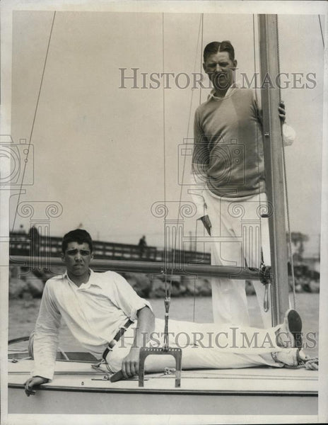 1933 Press Photo Edwine Lhone and Lauder Lhone at International Star Boat Race - Historic Images